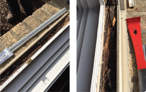 The seal of this IGU failed, allowing water to enter the window and cause significant damage to the frame.